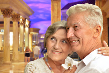 Portrait of happy senior couple hugging against ancient building