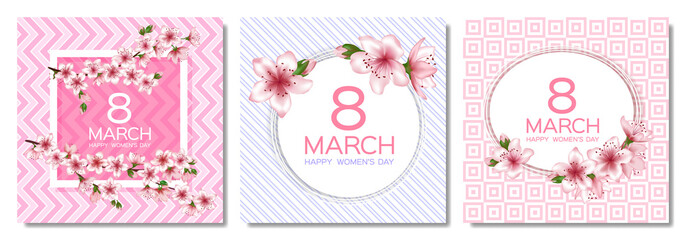 8 March Happy Women's Day vector cards set.