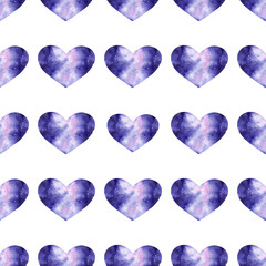 Watercolor seamless pattern with bright galaxy hearts.