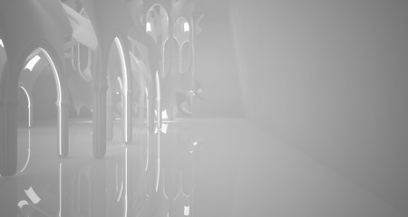 Abstract gothic white interior with neon lighting. 3D illustration and rendering.