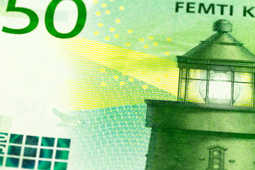 detail of a new 50 norwegian krone banknote obverse
