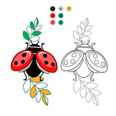 Coloring by numbers for children. Beautiful little ladybug with leaves on a white background isolated. Vector illustration.