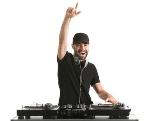 Male DJ playing music on white background