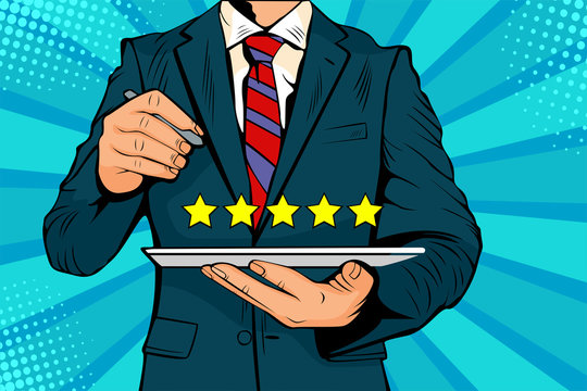 Five stars rating quality review of service. Colorful vector illustration in pop art retro comic style