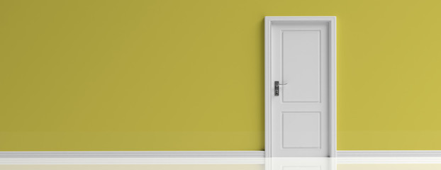 Closed door white on yellow wall background, banner, copy space. 3d illustration Wall mural