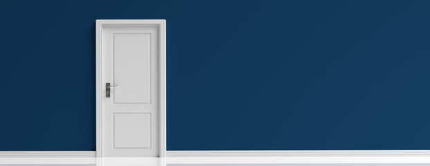 Closed door white on dark navy blue wall background, banner. 3d illustration Wall mural