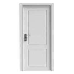 White decorated closed door isolated cutout on white background. 3d illustration