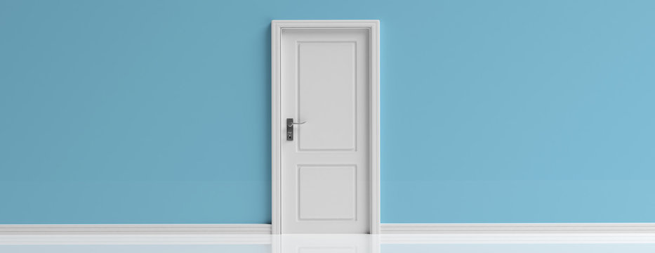 Closed door white on blue wall background, banner, copy space. 3d illustration