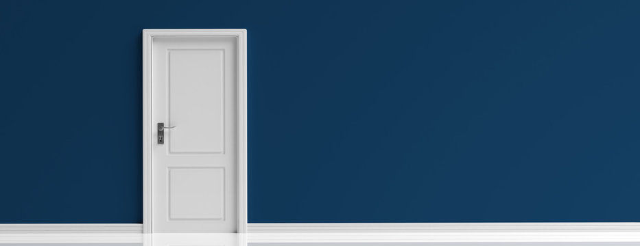 Closed door white on dark navy blue wall background, banner. 3d illustration