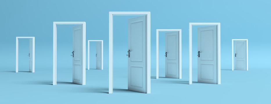 White doors opened on blue background, banner. 3d illustration