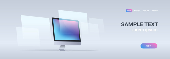 modern desktop monitor workstation blank computer display digital technology concept gray background horizontal banner copy space