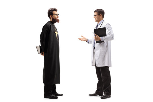 Full length shot of a young male doctor discusiing something with a priest