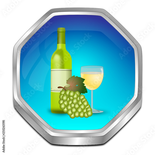 Button with wine bottle, a glass of wine and Grapes - 3D