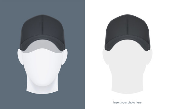 Baseball cap at head mannequin. Man Avatar in headgear. Clothes design. Trendy wear. Sports clothes. View hat. Face look. Isolated white background. Eps10 vector illustration.