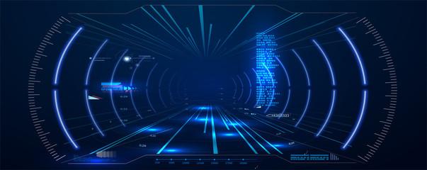 Virtual reality. Futuristic VR Head-up Display Design. Sci-Fi Helmet HUD. Future Technology.  Hi tech future design. Vector Fototapete