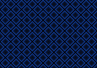 Blue Seamless Geometric Pattern Background - Abstract Squared Illustration, Black and White Vector