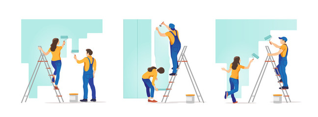 House repair. People painting the wall and  glues wallpaper at home. Vector illustration.