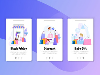 Onboarding Screens User Interface Kit. Black Friday sale, gift for children, discounts online.