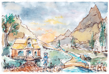 Skyrim. Village in the mountains by watercolor