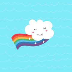 Funny kawaii cloud on the rainbow.Vector illustration
