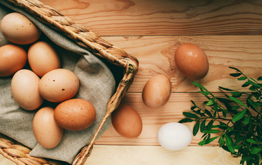easter composition Easter eggs lie in an egg box next to green branches on a wooden light background easter concept photo from above