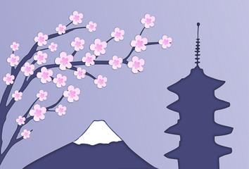 Beautiful japanese postcard with blooming sakura tree, fudji and pagoda