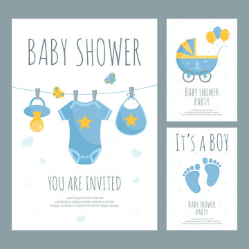 Baby shower for future mother of little boy invitation in flat style.