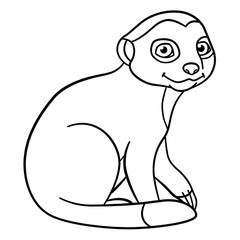 Coloring pages. Little cute baby meerkat smiles.