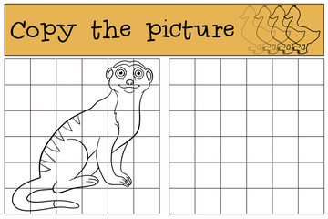 Educational game: Copy the picture. Little cute meerkat smiles.