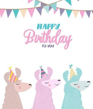 Llama birthday card. Cute birthday greeting card with alpaca. Editable vector illustration