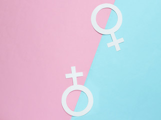 Two Gender symbol feminism on pastel background. Top view. LGBT community Minimalism.