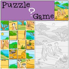 Education game: Puzzle. Three little cute meerkats.