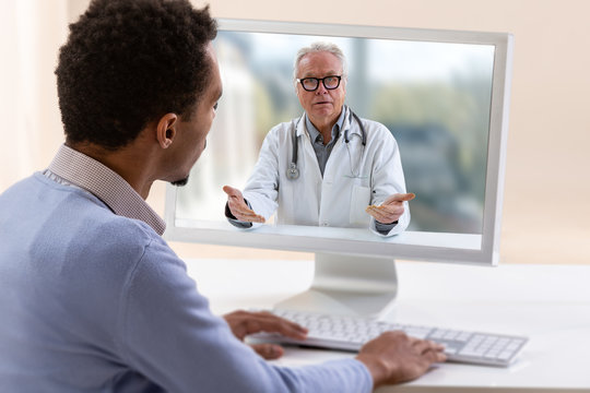In-home care for a young male patient with telemedicine or telehealth, virtual live chat.