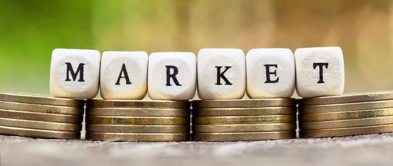 Stock exchange market, investment, finance concept - gold coins banner