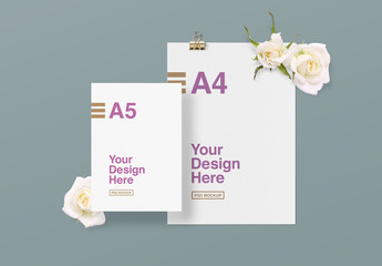 2 Pieces of Paper Mockup with Flowers