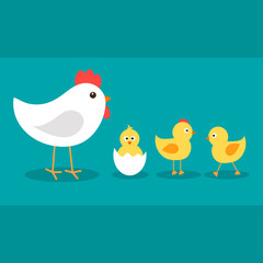 Cute cartoon chickens with their mother hen