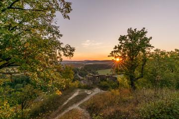 Sonnenuntergang von der Burgruine Trimburg