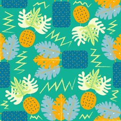 Collage contemporary floral seamless pattern. Modern exotic jungle fruits and plants. Creative design leaves pattern, hand drawn watercolor vector illustration. Monstera print