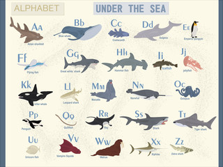 Vector english alphabet on the theme of sea animals. The name of marine animals.