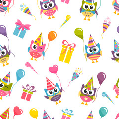 Seamless Birthday pattern with cute colorful owls