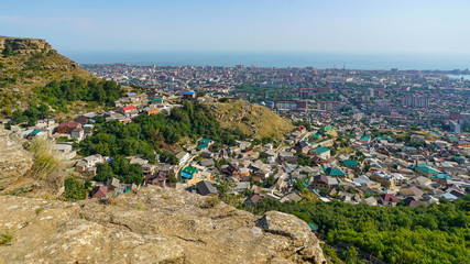View of the city of Makhachkala - the capital of the Republic of Dagestan. On the left you can see Tarki-tau mountain