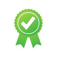Green approved star sticker on white background. Vector illustration.