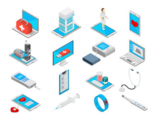 Mobile Medicine Icons Set