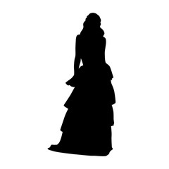 Woman with long hair standing in long night dress, isolated vector silhouette. Front view