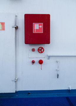 In case of fire, bulkhead equip with water hose and connections for fighting a fire on ship