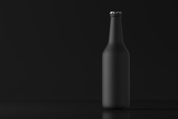 Beer bottle matte black on a dark background. Mock up. 3d rendering