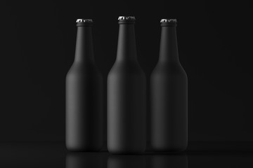 Three matte black bottles on a dark background. Mock Up. 3d rendering