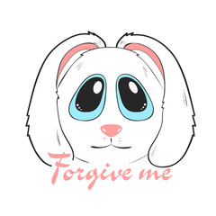 Forgive me card with adorable cute bunny. cartoon character of rabbit with apologize. Isolated vector