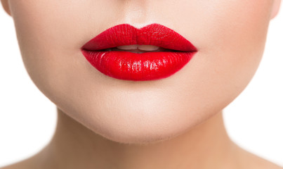 Lips Beauty Closeup, Woman Face Make Up and Red Lipstick Close Up