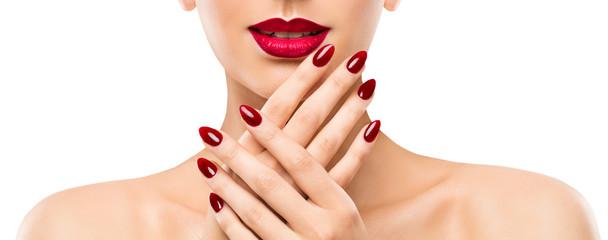 Woman Beauty Lips Nails, Beautiful Model Face Lipstick Makeup, Red Manicure Polish